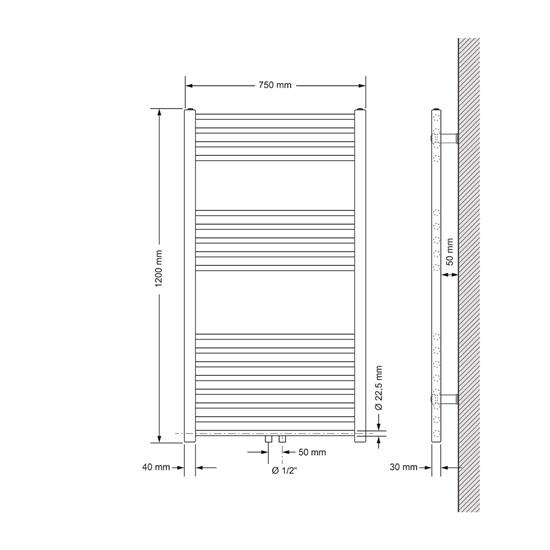 Badheizkörper Sahara 750 x 1200 mm Anthrazit gerade + Mittelanschluss