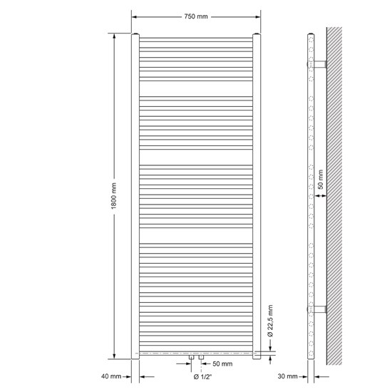 Badheizkörper Sahara 750x1800 mm Chrome gerade mit Mittelanschluss