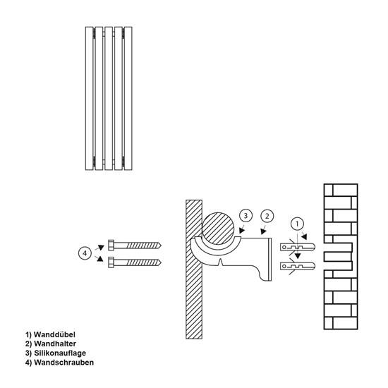 Stella Design Paneelheizkörper 260x1800 mm Anthrazit mit Mittelanschluss