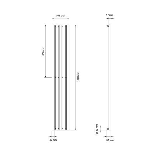 Vertikale Paneelheizkörper Stella weiß, 260x1600 mm, mit Mittelanschluss
