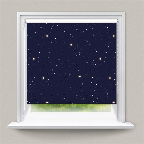 Verdunkelungsrollo Klemmfix 70 x 150 cm Blau mit Sterne