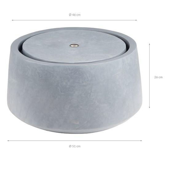 WOMO-DESIGN Springbrunnen grau, mit LED Beleuchtung und Pumpe in Steinoptik, Ø 51x26 cm, aus Kunststoff