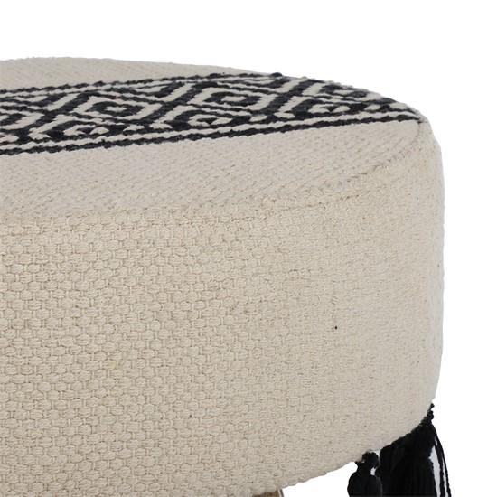 Sitzocker weiß/schwarz 38x36 cm aus Stoffbezug mit Holzbeine WOMO-DESIGN