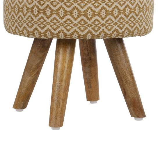 Sitzhocker gold/weiß 38x36 cm aus Stoffbezug mit Holzbeine WOMO-DESIGN