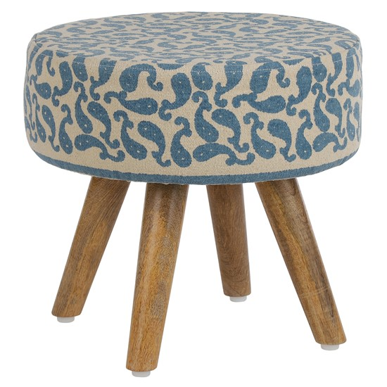 Sitzhocker blau/beige 38x36 cm aus Stoffbezug mit Holzbeine WOMO-DESIGN