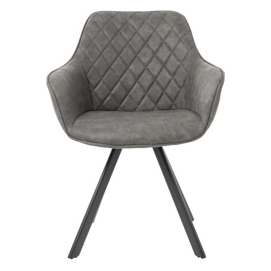 WOMO-DESIGN 2er Set Esszimmerstühle grau, mit Rucken- und Armlehnen, aus Samt mit Metallbeine