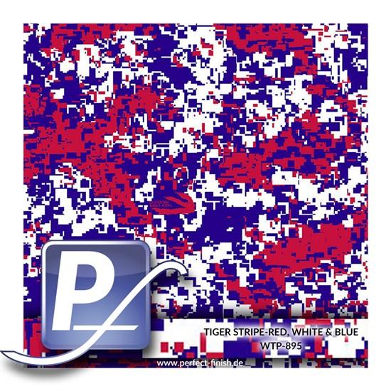 Wassertransferdruck Film WTP-895 | 100cm TIGER STRIPE-RED, WHITE & BLUE