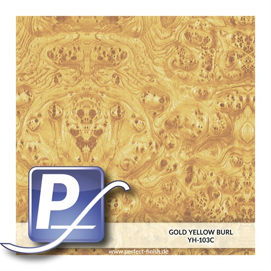 Wassertransferdruck Film YH-103C | 50cm GOLD YELLOW BURL