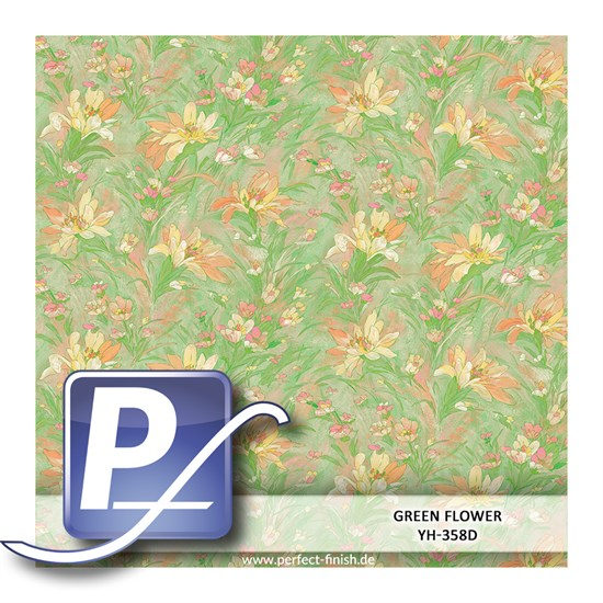 Wassertransferdruck Film YH-358D | 50cm GREEN FLOWER