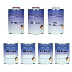 7 Liter SET RAL PU Lack GLÄNZEND(4L PU + 2x1L Härter + 1L Verd.)