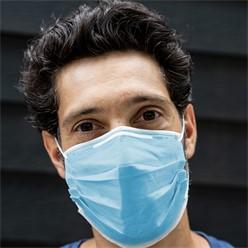 10 Stück Einwegmasken 3-lagig Vliesmaterial Blau