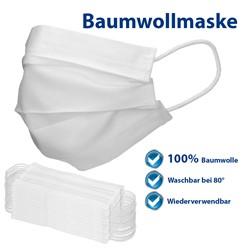 10 Stück Atemschutzmaske Baumwolle Weiß