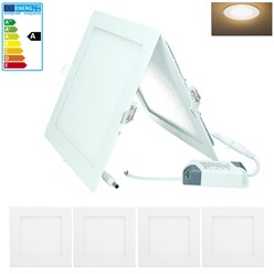 4 x LED Panel Eckig 18W Warmweiß AC 220-240V