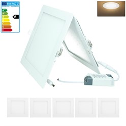 5 x LED Panel Eckig 18W Warmweiß AC 220-240V