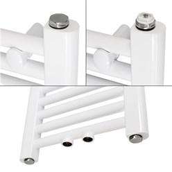 Badheizköper 400x800 mm Weiß, gerade, Universal Anschlussgarnitur