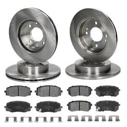Brebremsensatz 4 Bremsscheiben Und Bremsbeläge Vorne Hinten Kia Picanto Hyundai I10