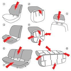 Sitzbezug Kunstleder Beige/Schwarz Airbag