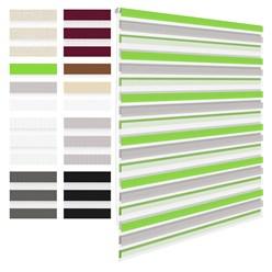 Doppelrollo grün-grau-weiß, 100x150 cm, mit Klemmträgern, inkl. Befestigungsmaterial