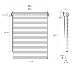 Doppelrollo 65x150 cm Weiß Klemmfix ohne Bohren mit Klemmträgern