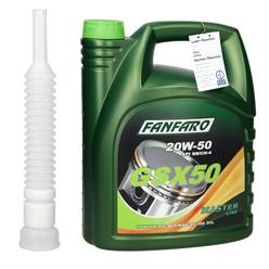 Fanfaro GSX50 20W-50 5 Liter mit Auslaufschlauch