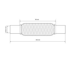 Flexrohr Edelstahl 40,5 x 80 mm mit Schellen und Paste