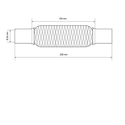 Flexrohr Edelstahl 56 x 100 mm mit Schellen