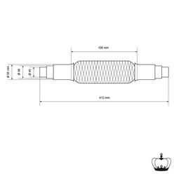 Flexrohr Edelstahl mit Schellen 45 x 150 mm