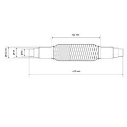 Flexrohr Edelstahl 45 / 48 / 55  x 100 mm mit Schellen