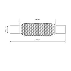 Universal Flexrohr Softflex, 45 x 200 mm, aus Edelstahl, mit 2 Schellen und Montagepaste