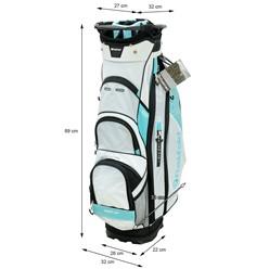 Fastfold Golf-Trolley Damen weiß/blau, wasserdicht, mit 14 Fächern, aus Polyester