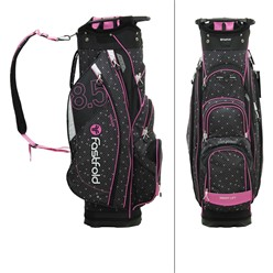 Fastfold Damen Golf-Trolley schwarz/hellrosa, wasserdicht, mit 14 Fächern, aus Polyester