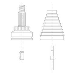 2 x Gelenksatz  radseitig links + rechts Ford