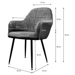 2er Set Esszimmerstuhl, Dunkelgrau, mit Rücken- und Armlehnen