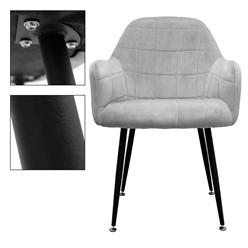 2er Set Esszimmerstuhl, Grau, mit Rücken- und Armlehnen
