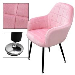 2er Set Esszimmerstuhl, Rosa, mit Rücken- und Armlehnen