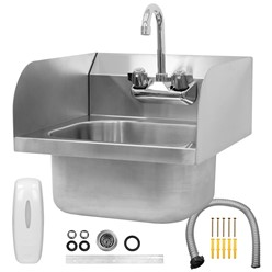 Stainless steel hand basin with 42x42x46cm on three sides
