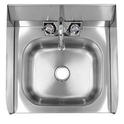 Handwaschbecken 42x42x46 cm, aus V2A Edelstahl, Inkl. Wasserhahn Wandhalterung und Seifenspender