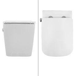 Spülrandloses Wand Hänge WC mit Bidet Funktion, Weiß, 340 x 375 x 520 mm, aus Keramik