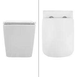 Spülrandloses Wand Hänge WC mit Bidet Funktion, Weiß, 550 x 360 x 310 mm, aus Keramik