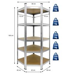 Werkstattregal silber, 180x70x40 cm, aus MDF Holzfaserplatte und verzinktes Metall, bis 750 kg