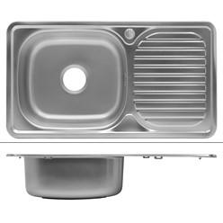 Küchenspüle 76 x 42,5 cm Silber aus Edelstahl