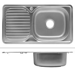 Küchenspüle 76 x 42,5 cm rechts Silber aus Edelstahl