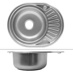 Küchenspüle 58 x 45 cm links Silber aus Edelstahl