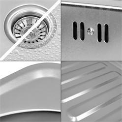 Küchenspüle 58 x 48 cm links Silber aus Edelstahl