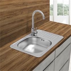 Küchenspüle 58 x 48 cm mit Spülbecken links Komplett-Syphon-Set, Spülmaschinenanschluss, Überlauf und Dichtband
