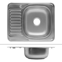 Küchenspüle 58 x 48 cm rechts Silber aus Edelstahl