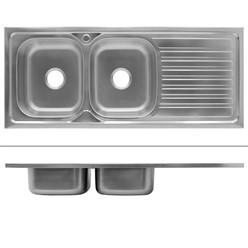 Küchenspüle 120 x 50 cm links Silber aus Edelstahl
