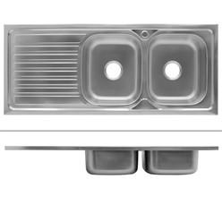 Küchenspüle 120 x 50 cm rechts Silber aus Edelstahl