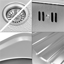 Küchenspüle 82 x 48 cm Silber aus Edelstahl