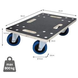 Transportroller 35x50 cm, belastung bis 800 kg, aus CNC-gefrästes Multiplex mit Siebdruck Oberflächen